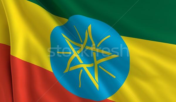 Banderą Etiopia wiatr tekstury tle star Zdjęcia stock © cla78