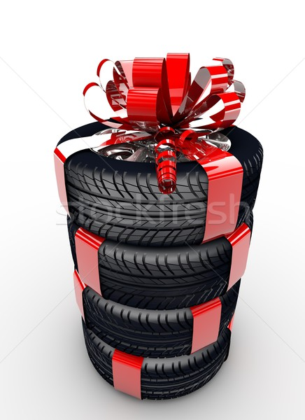 Tyres with ribbon Stock photo © cla78