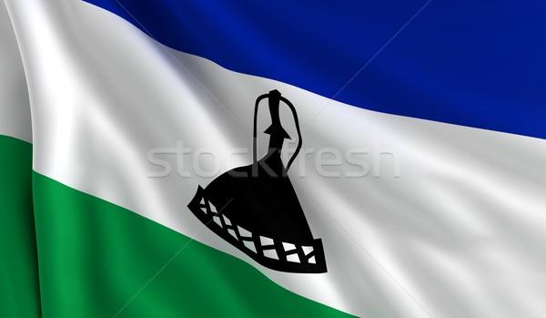 Pavillon Lesotho vent texture fond noir Photo stock © cla78