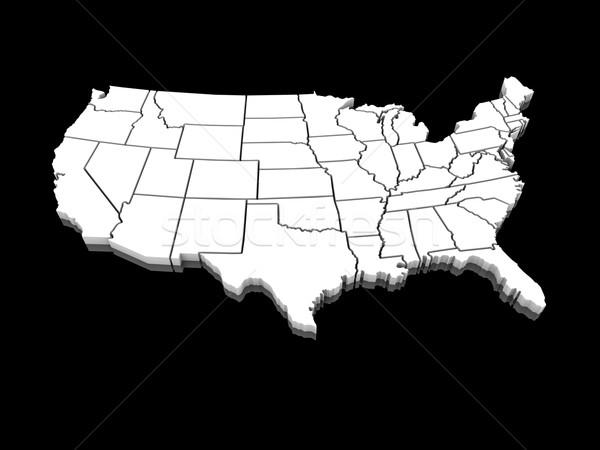 Stockfoto: USA · witte · kaart · 3D · Verenigde · Staten · amerika