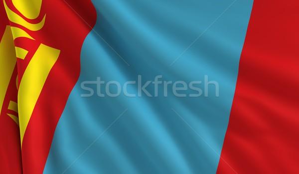 Zászló Mongólia szél textúra háttér kék Stock fotó © cla78