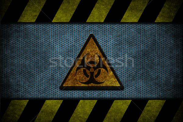 Kék veszély fém citromsárga fekete csíkok Stock fotó © cla78