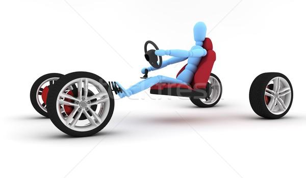 Kék férfi vezetés négy kerék izolált Stock fotó © cla78