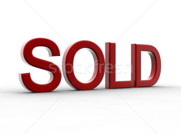 красный проданный изолированный белый металл торговых Сток-фото © cla78