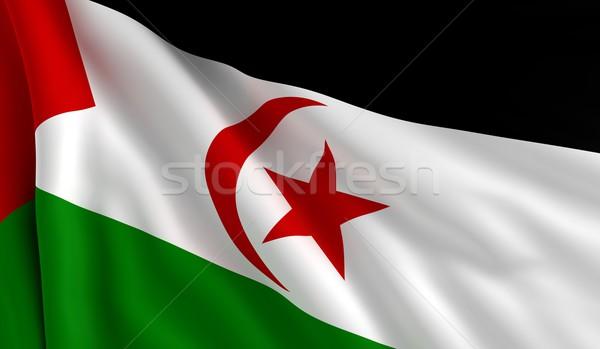 Vlag westerse sahara wind textuur maan Stockfoto © cla78