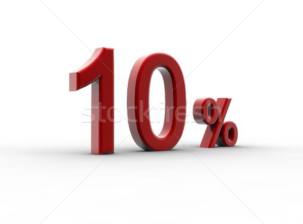 Rojo 10 porcentaje aislado blanco metal Foto stock © cla78