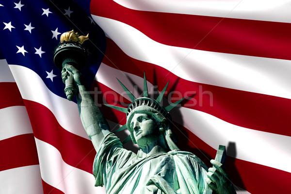 статуя свободы флаг США счастливым Мир Сток-фото © cla78
