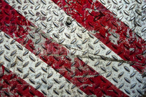 öreg fém gyémánt tányér piros fehér Stock fotó © cla78