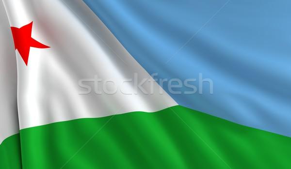 Banderą Dżibuti wiatr tekstury tle niebieski Zdjęcia stock © cla78