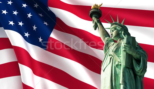 статуя свободы США флаг счастливым Мир Сток-фото © cla78