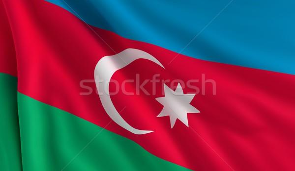 Vlag Azerbeidzjan wind textuur achtergrond star Stockfoto © cla78