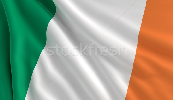 Stok fotoğraf: Bayrak · İrlanda · rüzgâr · doku · arka · plan · beyaz