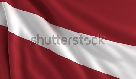 Vlag Letland wind textuur achtergrond witte Stockfoto © cla78