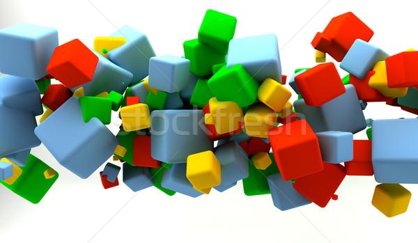 Würfel abstrakten viele grünen blau Stock foto © cla78