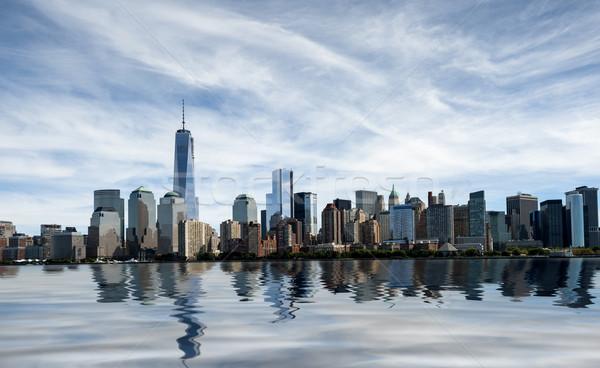 New York sziluett New York délután Freedom Tower iroda Stock fotó © cla78