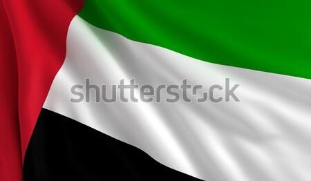 Bayrak Birleşik Arap Emirlikleri rüzgâr doku arka plan yeşil Stok fotoğraf © cla78