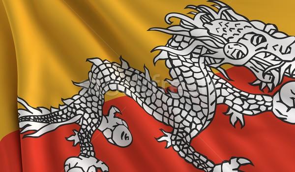 Vlag Bhutan textuur achtergrond wind witte Stockfoto © cla78