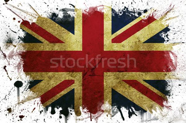 Groot-brittannië vlag verf geschilderd witte grens Stockfoto © cla78