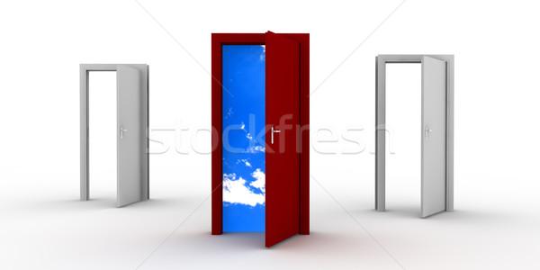 Stok fotoğraf: Açmak · kapılar · kırmızı · kapı · gökyüzü · iki