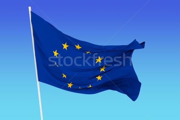 Bayrak avrupa topluluğu rüzgâr gökyüzü arka plan Yıldız Stok fotoğraf © cla78