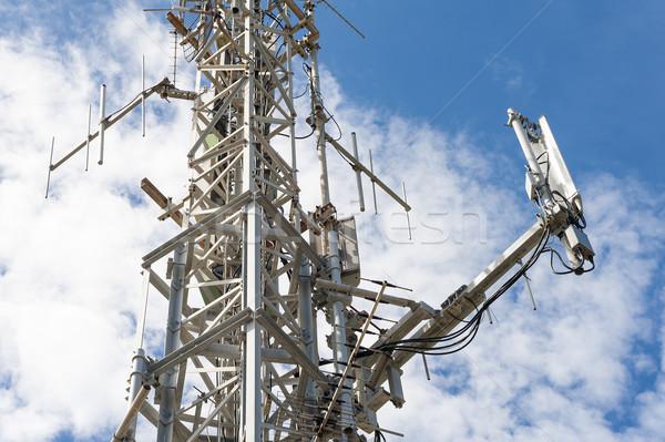 Antenne telecommunicatie toren blauwe hemel televisie technologie Stockfoto © cla78