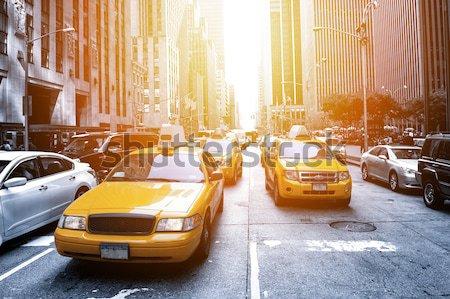 New York taxi Geel zwart wit weg licht Stockfoto © cla78
