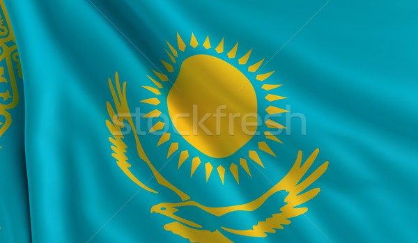 флаг Казахстан ветер текстуры солнце фон Сток-фото © cla78