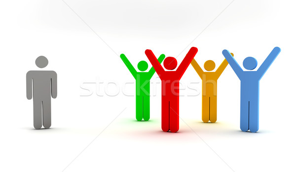 single man and a group Stock photo © cla78
