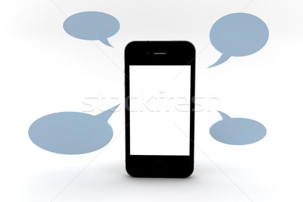телефон пузырьки мобильного телефона экране копия пространства синий Сток-фото © cla78