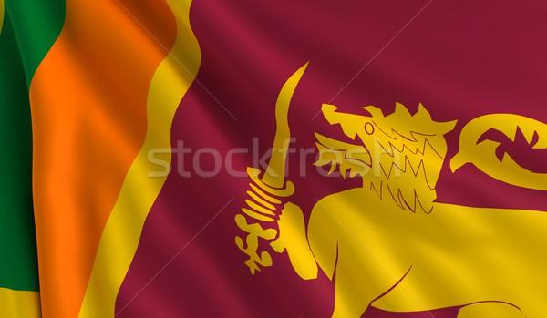 флаг Шри Ланка ветер текстуры фон зеленый Сток-фото © cla78