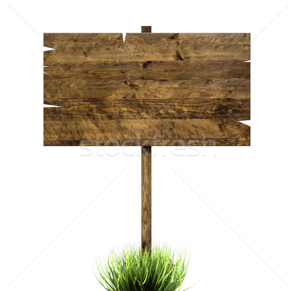 Wooden sign in green grass Stock photo © cla78