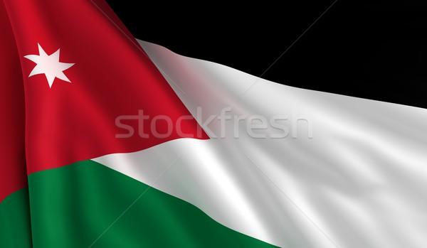 Vlag Jordanië wind textuur achtergrond zwarte Stockfoto © cla78