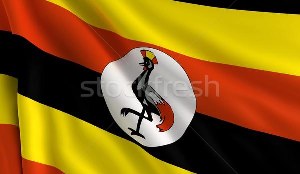 Bandiera Uganda vento texture sfondo nero Foto d'archivio © cla78