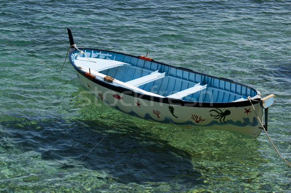 Oude roeiboot gekleurd strand water Blauw Stockfoto © cla78