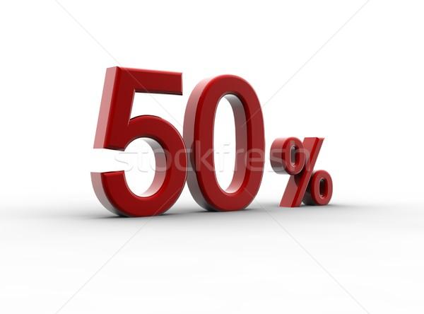Сток-фото: красный · 50 · процент · изолированный · белый · металл