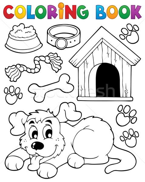 Coloring book dog theme 2 Stock photo © clairev