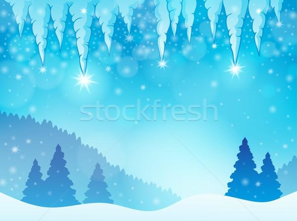 Jégcsap kép fény háttér fák rajz Stock fotó © clairev