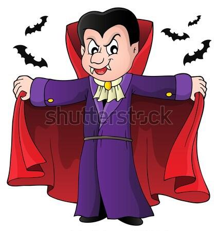 Vampiro ataúd dientes gótico persona sonriendo Foto stock © clairev
