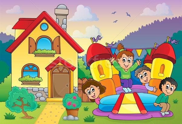 Children playing near house theme 3 Stock photo © clairev