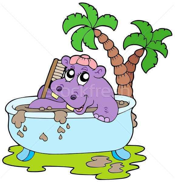 Hippo taking mud bath Stock photo © clairev