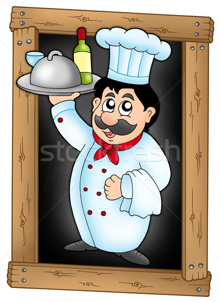 Chef holding meal on blackboard Stock photo © clairev