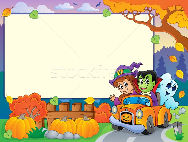 Foto stock: Otono · marco · halloween · coche · sonrisa · hojas