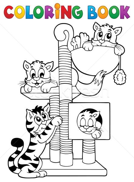Stock fotó: Kifestőkönyv · macska · könyv · festék · művészet · állatok