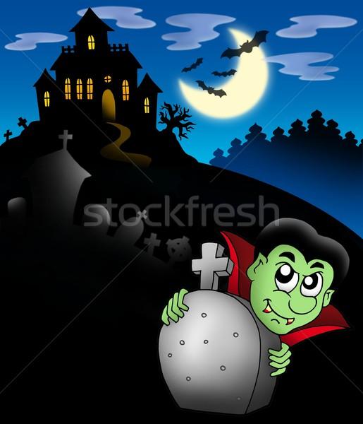 Vampire manoir couleur illustration maison Photo stock © clairev