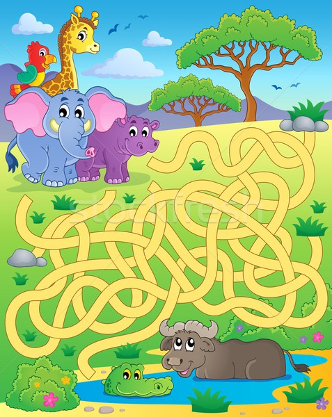 Maze 16 with tropical animals Stock photo © clairev