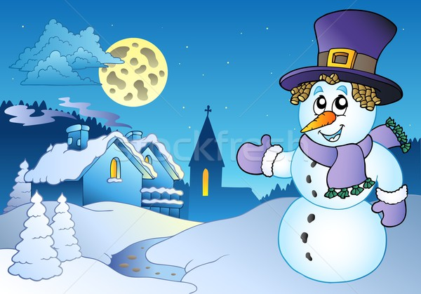 Snowman near small village Stock photo © clairev