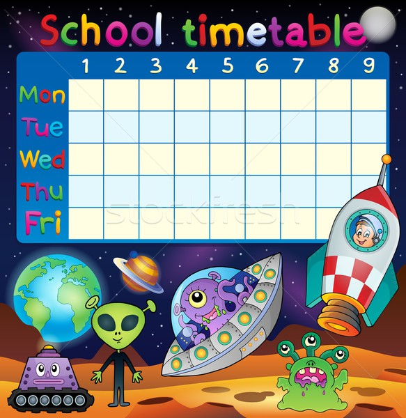School dienstregeling ruimte fantasie kunst tabel Stockfoto © clairev