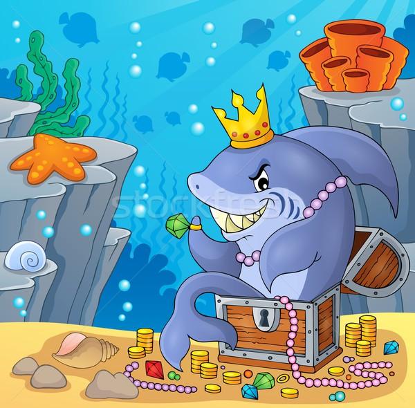 Stock photo: Shark with treasure theme image 4