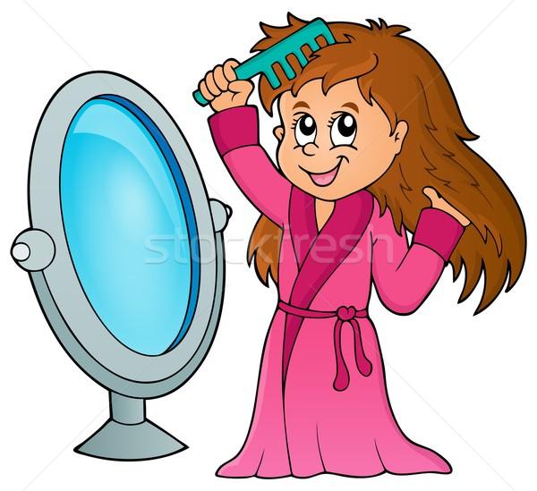 Girl combing hair theme 1 Stock photo © clairev