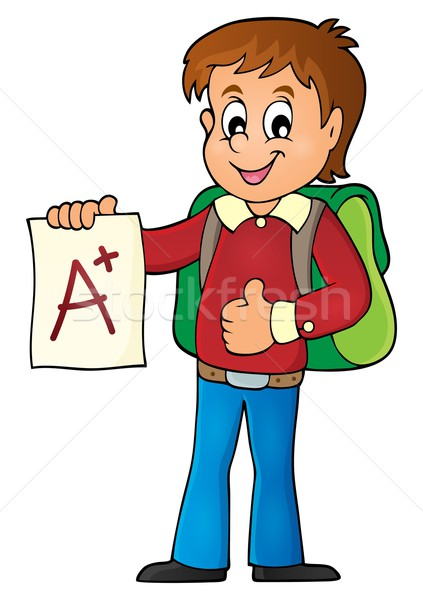 School boy with A plus grade theme 1 Stock photo © clairev